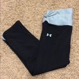 Blue and black Under Armor capris